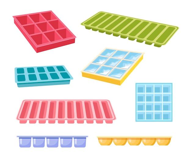 Conjunto de bandejas de cubo de gelo de ícones de diferentes cores e formas isoladas no fundo branco. equipamento para água gelada
