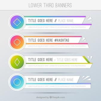 Conjunto de bandejas terceiras inferiores de cores geométricas