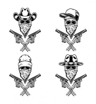 Conjunto de bandido segurando a arma, isolada
