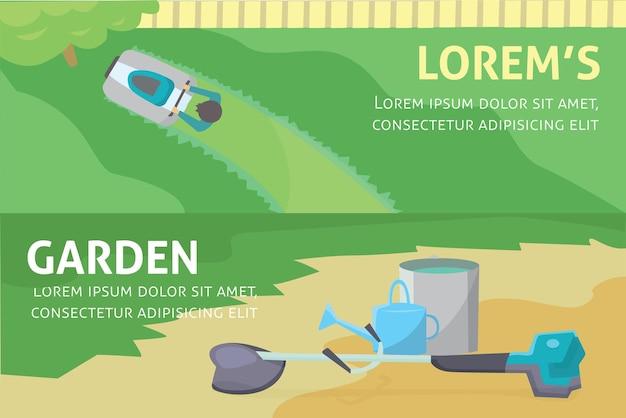 Conjunto de baner de ferramentas de jardinagem. ilustração isolada.