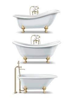 Conjunto de banheiras brancas de estilo vintage com pés de garra e elementos dourados