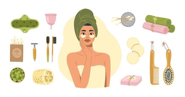 Conjunto de banheiro com desperdício zero. mulher com toalha de banho e produtos e ferramentas ecológicos.