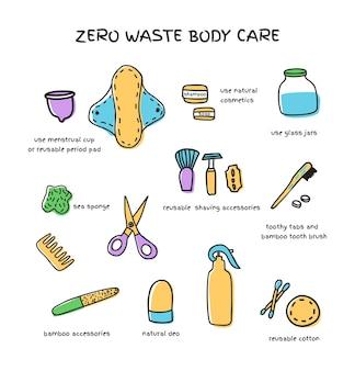 Conjunto de banheiro com zero resíduos, ilustração vetorial, coleções de produtos para cuidados com o corpo