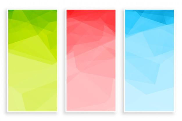 Conjunto de banner abstrato baixo poli triângulo cores