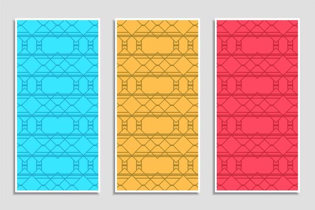 Conjunto de banner abstrato colorido padrão