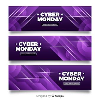 Conjunto de banner abstrato cyber segunda-feira