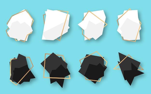 Conjunto de banner abstrato geométrico poligonal branco, preto com moldura de linha ouro. modelo vazio para texto