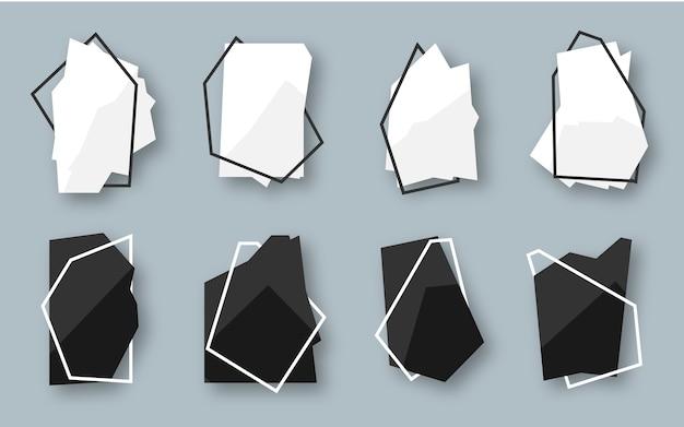 Conjunto de banner abstrato geométrico poligonal preto e branco com quadro de linha.