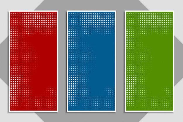 Conjunto de banner abstrato moderno colorido meio-tom
