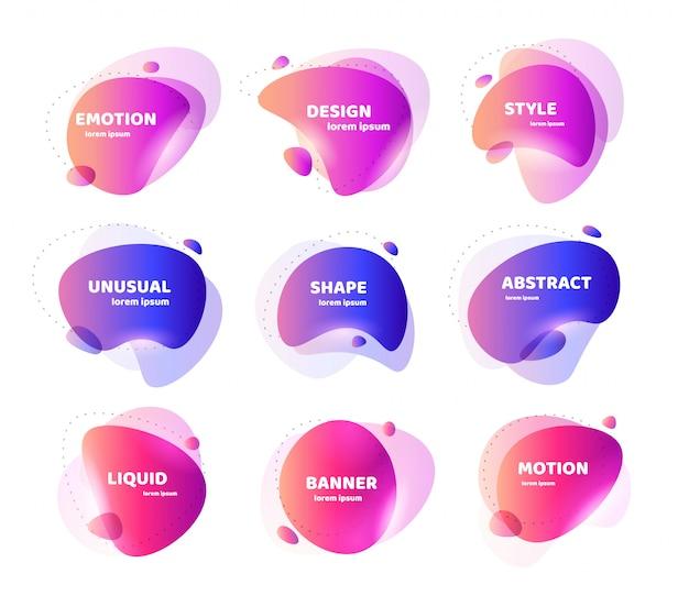 Conjunto de banner abstrato moderno. forma líquida colorida geométrica plana. modelo de design colorido de um logotipo, folheto, banner, apresentação. projeto de conceito para os negócios. ilustração isolada