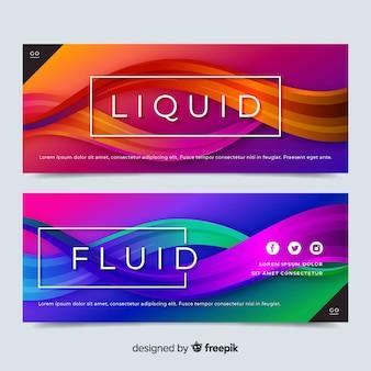 Conjunto de banner abstrato ondas líquidas