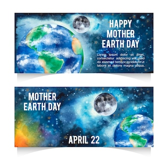 Conjunto de banner aquarela dia da mãe terra