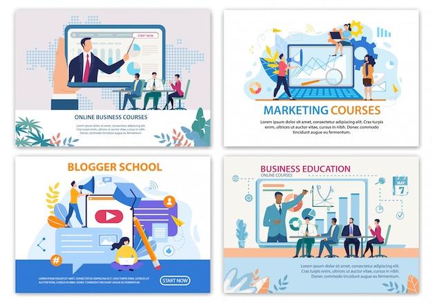Conjunto de banner brilhante, cursos de negócios on-line planas