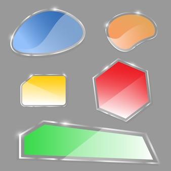 Conjunto de banner brilhante, vetor de bandeira de vidro