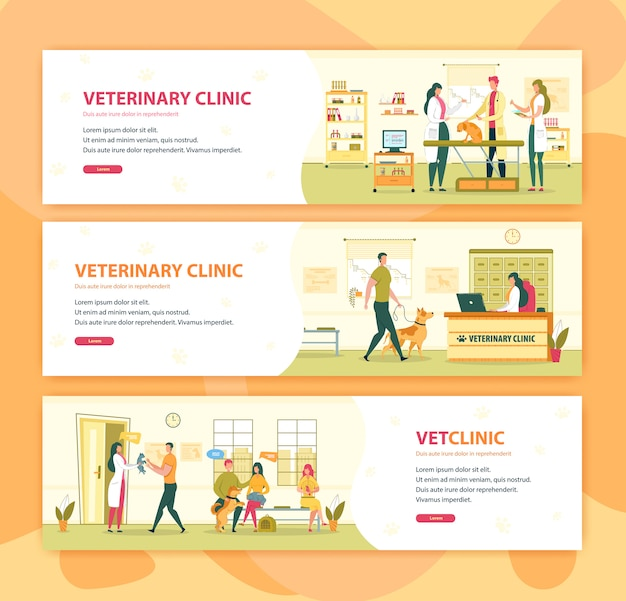Conjunto de banner clínica veterinária ou consulta de veterinário de hospital