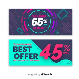 Conjunto de banner colorido abstrato cyber segunda-feira venda