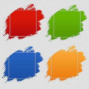 Conjunto de banner colorido blobs fundo transparente