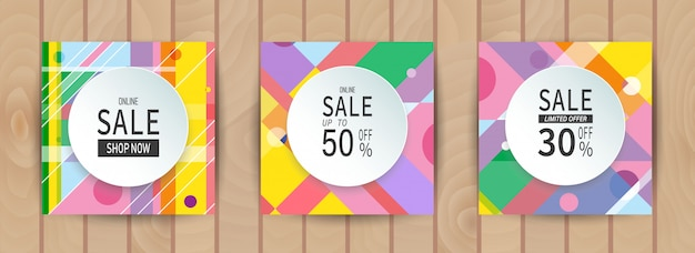 Conjunto de banner colorido geométrico abstrato de vendas