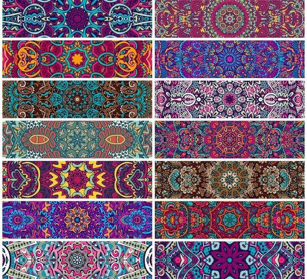 Conjunto de banner colorido psicodélico étnico de padrão sem emenda