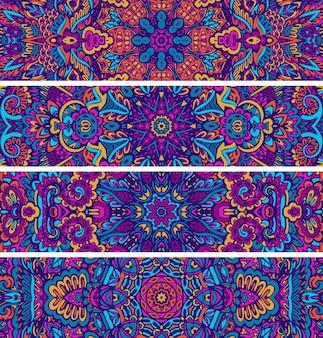 Conjunto de banner colorido psicodélico étnico sem costura padrão