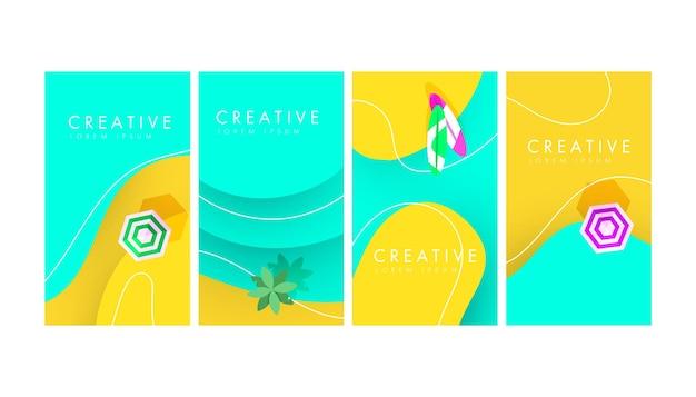 Conjunto de banner criativo abstrato com palmeira tropical e forma de areia líquida