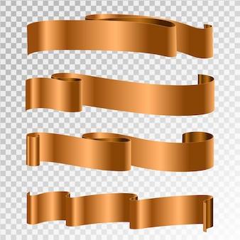 Conjunto de banner da faixa de opções. fitas de ouro.