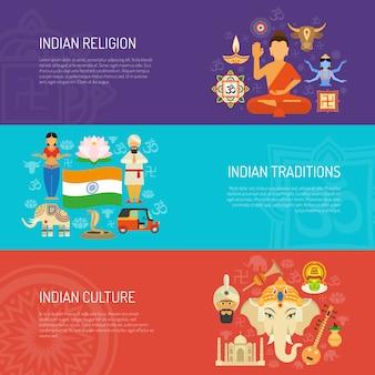 Conjunto de banner da índia