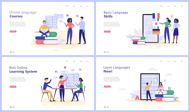 Conjunto de banner da web de conceito de cursos de idiomas online