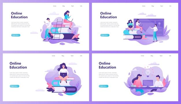Conjunto de banner da web de educação online. ideia de distância