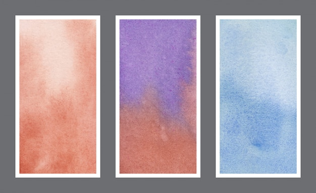 Conjunto de banner da web de fundo aquarela abstrato