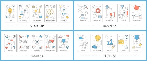 Conjunto de banner da web de inicialização de negócios. ideia de criativo