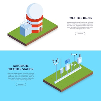 Conjunto de banner da web do centro meteorológico isométrico com radares