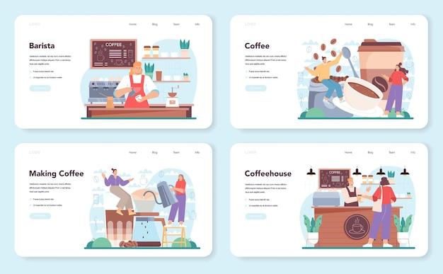 Conjunto de banner da web ou página de destino do barista barman fazendo uma xícara de café quente