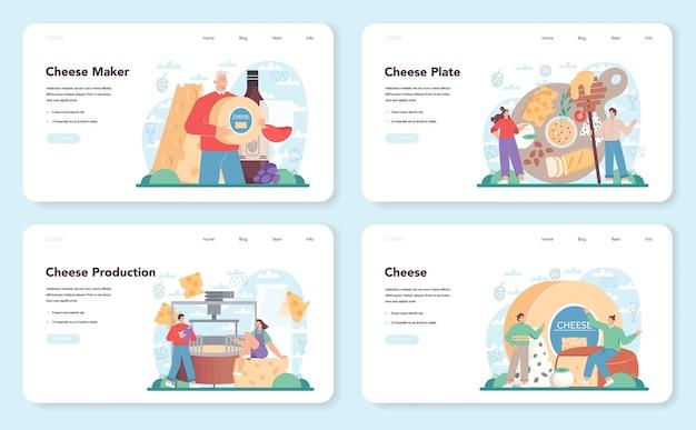 Conjunto de banner da web ou página de destino do fabricante de queijos chef profissional
