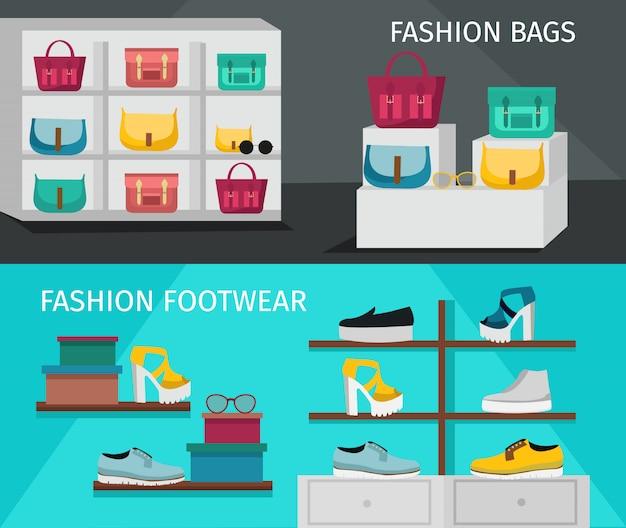 Conjunto de banner de acessórios de moda