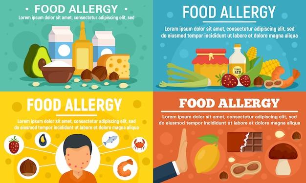 Conjunto de banner de alergia alimentar