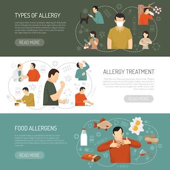 Conjunto de banner de alergia três