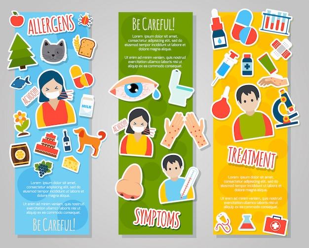 Conjunto de banner de alergias