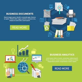 Conjunto de banner de análise de negócios