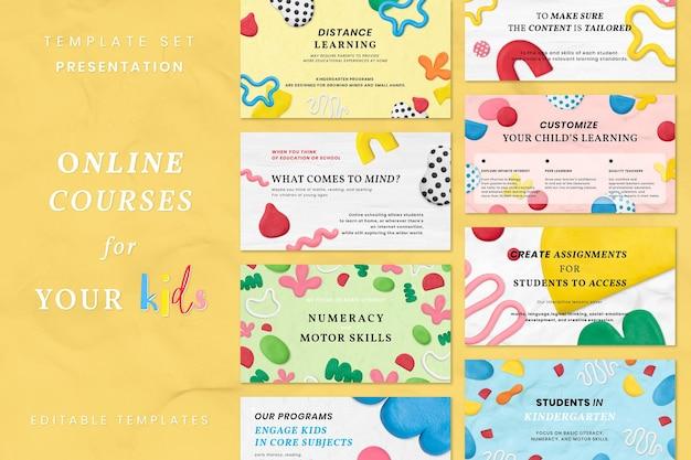 Conjunto de banner de anúncio estampado de argila de massinha fofa de vetor de modelo de aula on-line infantil