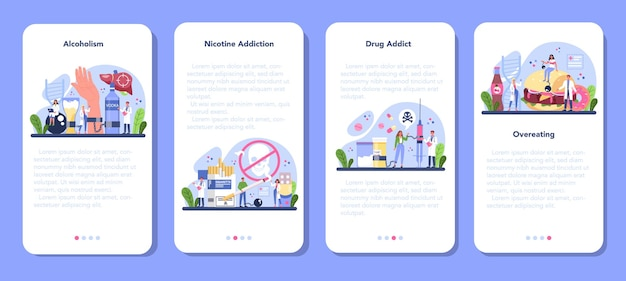Conjunto de banner de aplicativo móvel addiction