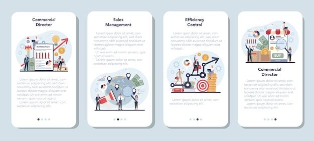 Conjunto de banner de aplicativo móvel conceito de gerente de vendas ou diretor comercial