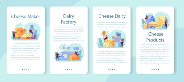 Conjunto de banner de aplicativo móvel conceito fabricante de queijos.