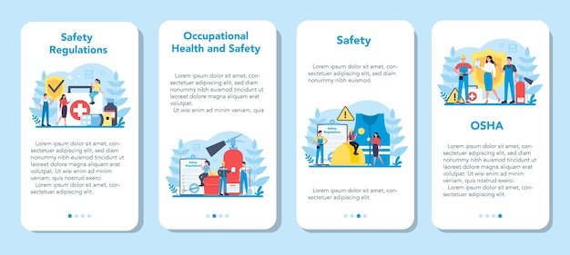 Conjunto de banner de aplicativo móvel conceito osha. administração de segurança e saúde ocupacional. serviço público governamental que protege o trabalhador de riscos à saúde e à segurança no trabalho.