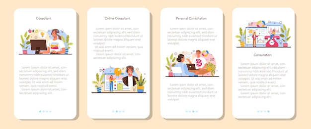 Conjunto de banner de aplicativo móvel consultor. especialista em pesquisa