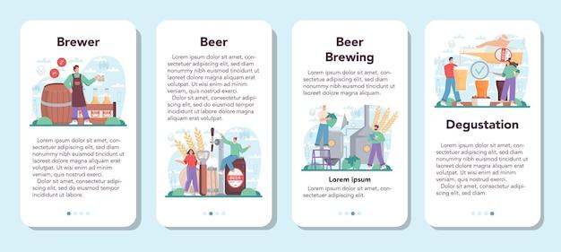 Conjunto de banner de aplicativo móvel da cervejaria, processo de fabricação de cerveja artesanal