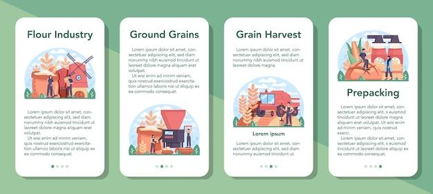 Conjunto de banner de aplicativo móvel da indústria de destilaria de farinha. ilustração plana isolada