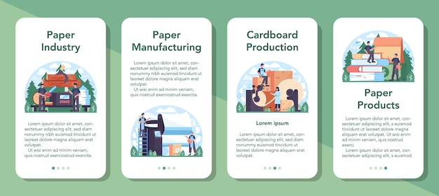 Conjunto de banner de aplicativo móvel da indústria de papel. processamento de madeira e papel