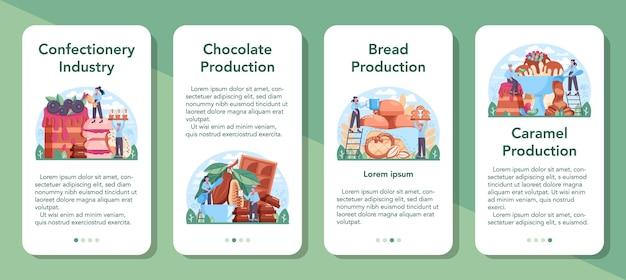 Conjunto de banner de aplicativo móvel da indústria de produção de confeitaria