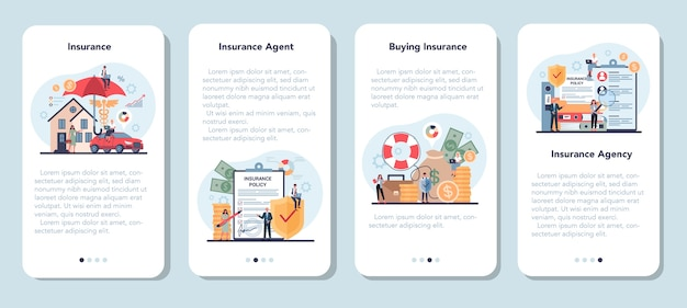 Conjunto de banner de aplicativo móvel de agente de seguros